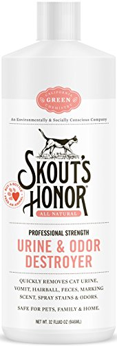 Skout's Honor Professional Strength, All-Natural Cat Urine and Odor Destroyer - Non-Toxic, Biodegradable, and Eco-Friendly - Dissolves Stains & Immediately Eliminates Odors - 32-Ounce Bottle