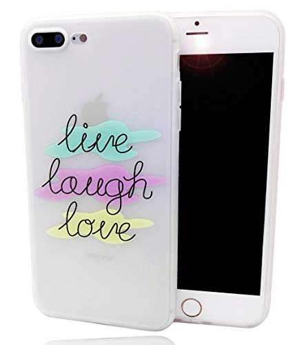 (iPhone 8 Plus Case,iPhone 7 Plus Case, Quote About Life Pattern Printed Slim Fit Case Soft Bumper Shockproof Matte Clear Back Cover Motivational Phrase Design for iPhone 8 Plus 7 Plus,Live Laugh Love)