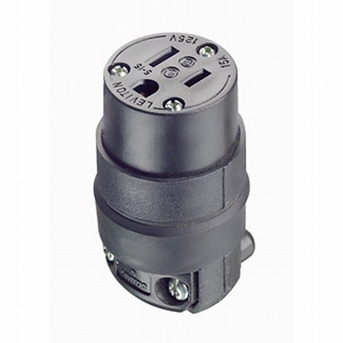 Leviton 515CR 10 Pack 15Amp 125V Straight Blade Rubber Female Connector, Black 3 Wire Grounding Connector