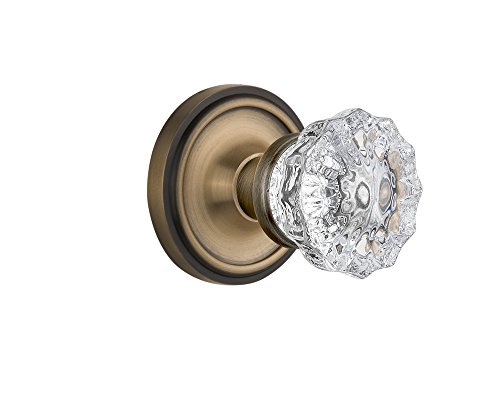 Nostalgic Warehouse Classic Rosette with Crystal Glass Door Knob, Double Dummy, Antique (Crystal Dummy Knob Set)