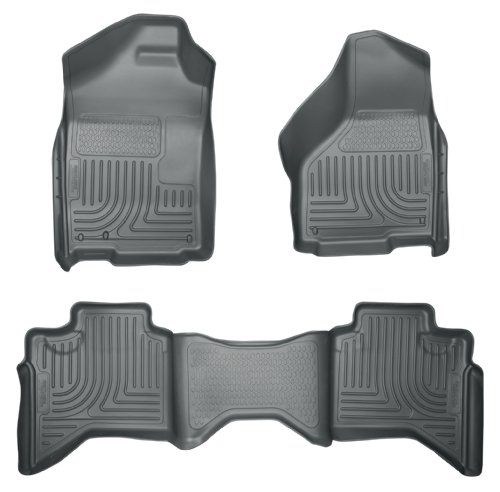 2013 - 2014 Dodge Ram 1500 Quad Cab - WeatherBeater Floor Mats Liners - Husky Grey Front & Rear