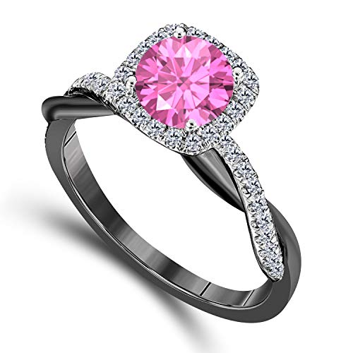 (DreamJewels 2.00 CT Created Pink Sapphire Emerald Cut Celebrity Halo Twisted Shank Bridal Engagement Wedding Ring 14k Black Gold Finish Alloy for Women's)