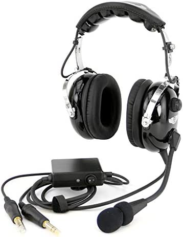 Rugged Air RA950 Stereo General Aviation Pilot Headset with Active Noise Reduction Featuring Gel Ear Seals and Full Flex Boom Mic