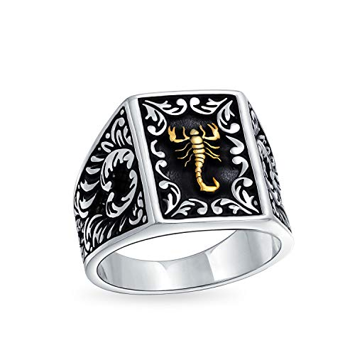 Mens Two Tone Zodiac Horoscope Scorpion Signet Ring For Men Solid Black 14K Gold Plated 925 Silver Handmade In Turkey ()