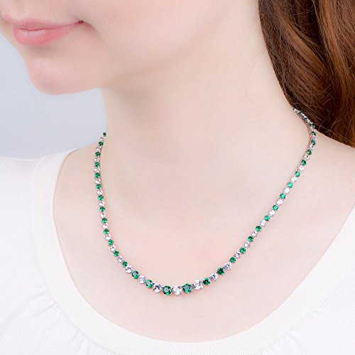 Eternity vert émeraude et or blanc saphir argent bijoux Set (Blanc)