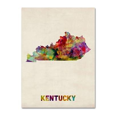 Trademark Fine Art Kentucky Map by Michael Tompsett Canvas Wall Art