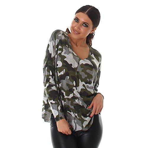 Voyelles Damen Camouflage Pullover V-Ausschnitt | Langarm | Loose-Fit Hipster Army Tarn-Look (32-38)