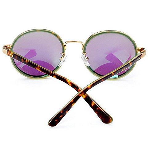 de redondas pequeñas Amarillo aire flor marco gafas de acetato de lente protección de libre UV fibra Personalidad conducción las sol mujeres vacaciones sol Color gafas TAC al de polarizadas Azul playa qtw8X