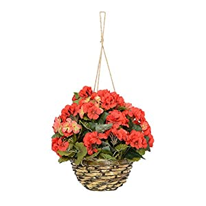 18 Inches High Hanging Geranium Flowering Plant, Red with Pink New Blooms in Wicker Basket, Artificial Floral 51