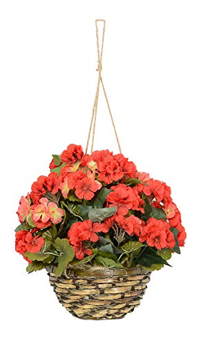 18 Inches High Hanging Geranium Flowering Plant, Red with Pink New Blooms in Wicker Basket, Artificial Floral