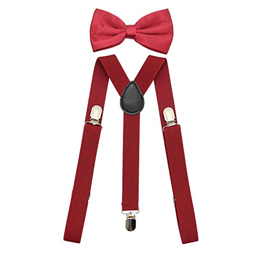 SunTrade Men Women Clip-on Suspenders Elastic Y-Shape Adjustable with Clips and Bow Tie(Apple) ()