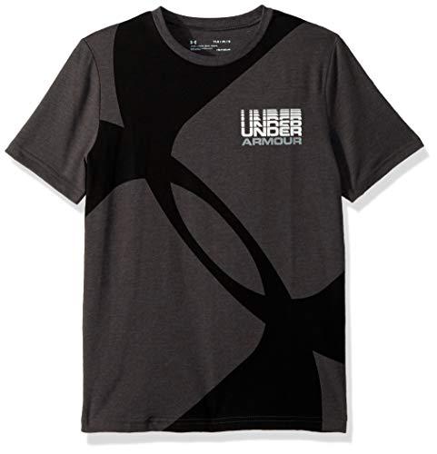Under Armour Boys Mega Duo Logo Short Sleeve Tee, Charcoal Medium Heat (019)/Steel, Youth Large ()