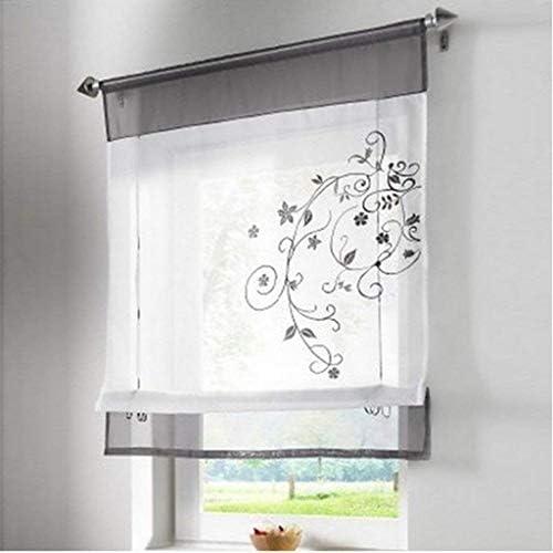 SIMPVALE 1 Pieza Cortina Persianas Romanas Hojas Bordado Transparente Visillos para Salón Cocina Baño Blanco, Gris, 100x120cm: Amazon.es: Hogar