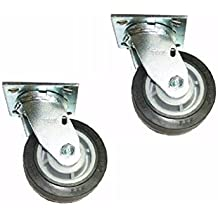 "Set of 2 Colson Swivel Plate Casters 5"" x 2"" Black Performa Rubber Wheel"