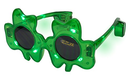 St. Patrick's Day Shamrock Clover Flashing Light Up LED Party Glasses, One Size, 6