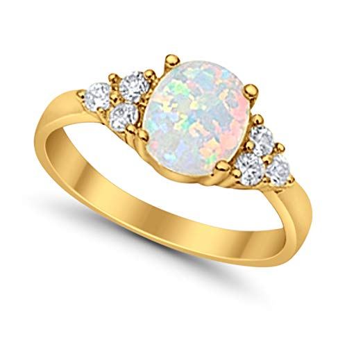 Accent Wedding Ring Oval Cut Lab Created White Opal Round CZ Yellow Tone Plated 925 Sterling Silver