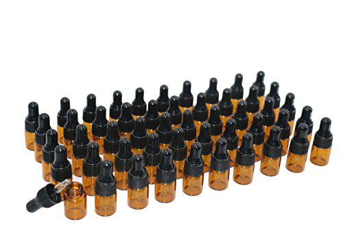 50Pcs 2ml Amber Glass Dropping Bottles Mini Essential Oil Dropper Bottles Empty Travel Perfume Sample Vials Containers with Glass Eye Dropper and Cap in Box(2 Droppers Included)