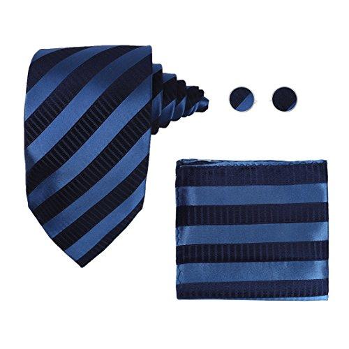 Y&G H7047 Blue Striped Men Presents Idea Silk Buy Presents Ties Cufflinks Hanky Set ()