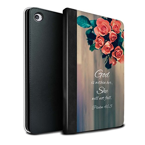 STUFF4 PU Leather Book/Cover Case for Apple iPad Mini 4 Tablets/God Within Her/Psalm Design/Christian Bible Verse Collection ()