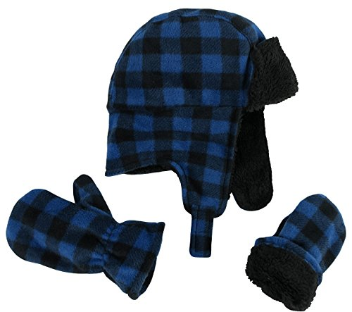 N'Ice Caps Little Boys and Baby Buffalo Plaid Fleece Trooper Hat Mitten Set (2-3 Years, Royal) - Kids Hat N Mitten