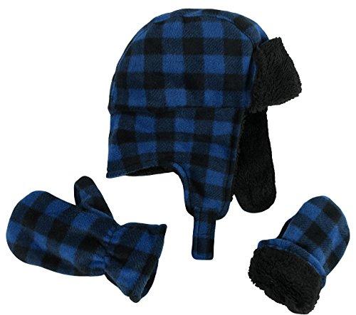 N'Ice Caps Little Boys and Baby Buffalo Plaid Fleece Trooper Hat Mitten Set (4-7 Years, Royal)