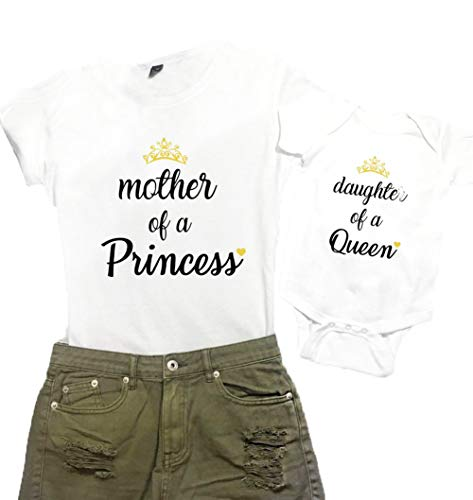 Mother and Me Short Sleeves Letters T-Shirt Mommy and Daughter Matching Shirts (Mother of a Princess-White (Mother), XL) ()