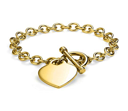 Verona Jewelers Womens Gold Plated Link Toggle Heart Charm Bracelet- (Gold)