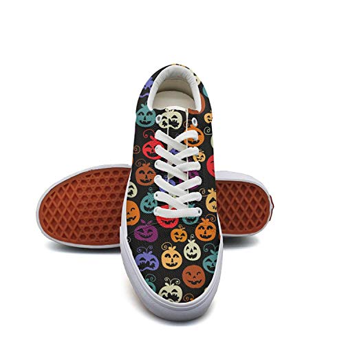 Women Girls Rainbow Color Pumpkin Halloween Canvas Sneaker Low-Cut Straps Classic Shoe Unique Sneakers (Back To The Old Skool Club Classics)