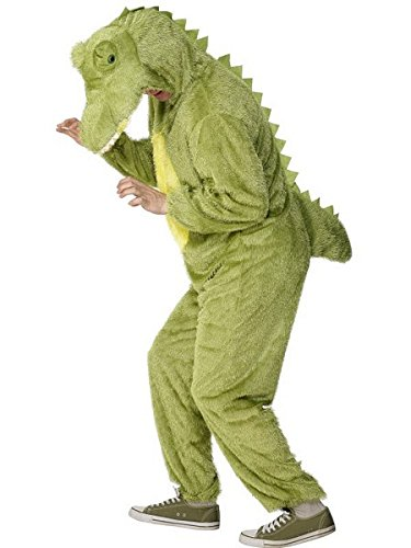 [Smiffy's Adult Unisex Crocodile Costume, Jumpsuit with Hood, Party Animals, Serious Fun, Size L,] (Adult Crocodile Costumes)