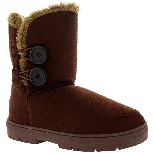 Mujeres Doble Button totalmente alineada botas piel impermeable de la nieve del invierno Marrón