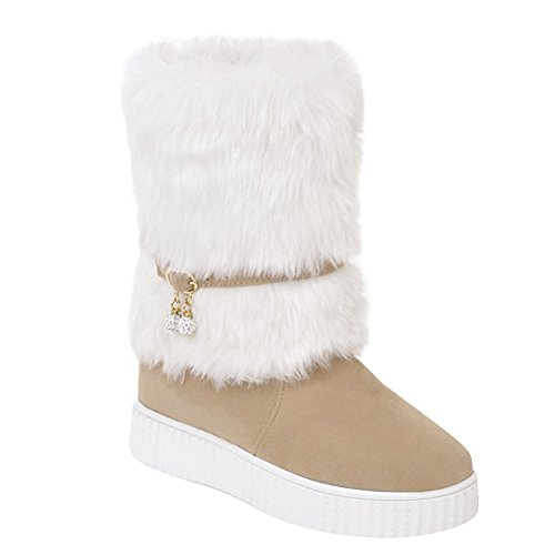 Latasa Dames Faux Fur Flat Snowboots Beige