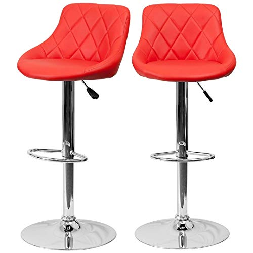 (Modern Style Bar Stools Low Back Horizontal Stitched Design Durable Vinyl Upholstery 360-Degree Swivel Seats Drafting Dining Chair Bar Pub Home Office Furniture - [Set of 6] Red #2242)