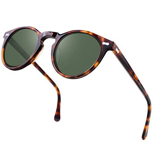Carfia Vintage Polarized Sunglasses for Women UV400 Protection Lens Acetate Frame (Tortoise Frame Light Green Lens, 46MM Lens ()