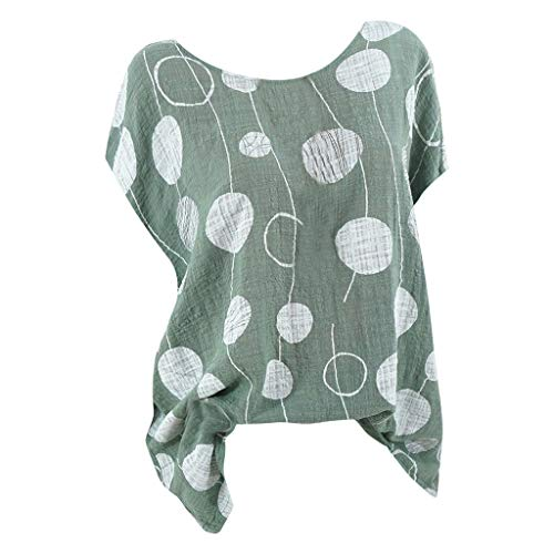 (Women's T-Shirt Tropical Dot, Women Loose Line T-Shirt Blouses Casual Flower Print Tops (L, Army Green))