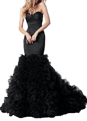 Braut Promkleider La Meerjungfrau Ballkleider Schwarz Rueschen mit Satin Festlichkleider mia Hochwertig Abendkleider r85w0rTq