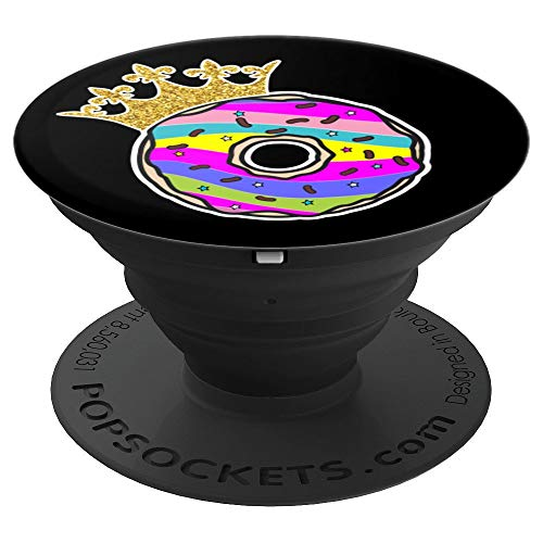 Rainbow Donut- Unicorn Doughnut- Pink dessert-Queen Donut - PopSockets Grip and Stand for Phones and Tablets -