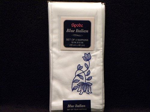 Spode Blue Italian Embroidered Fabric Napkins