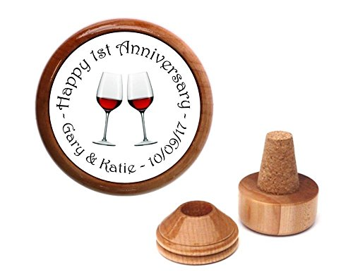 Personalized for any wedding anniversary gift present for couple bottle stopper.