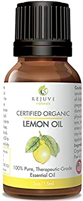 Certified Organic Lemon Essential Oil by RejuveNaturals, 15 ml   100% Pure, Cold Pressed, Food Grade   For Skin, Cleaning, or Aromatherapy Diffuser