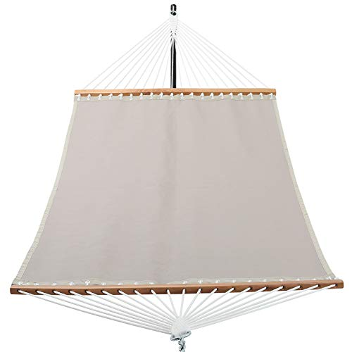 Patio Watcher 14 FT Quick Dry Hammock with Double Size Solid Wood Spreader Bar Outdoor Patio Yard Poolside Hammock with Chains