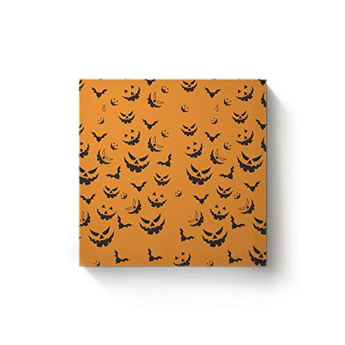 GreaBen Canvas Wall Art Square Oil Painting Office Home Decor for Bedroom Living Room,Orange Pumpkin Bat Halloween Design Artworks,Stretched by Wooden Frame,Ready to Hang,28x28 Inch -