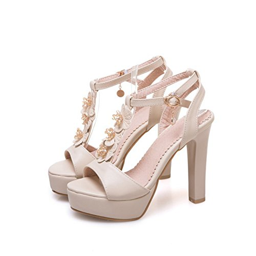 Casual Wedge Pumps Toe Party Simple Stilettos Strap Ankle Sandals High Beige Heel Women's Open Dress PqApg