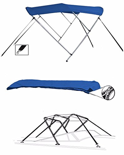 7oz BLUE 3 BOW ROUND TUBE BOAT BIMINI TOP SUNSHADE TOP FOR SEA RAY 175 BOW RIDER OUTBOARD W/ FISH AND SKI PACKAGE (Sea Ray Ski)