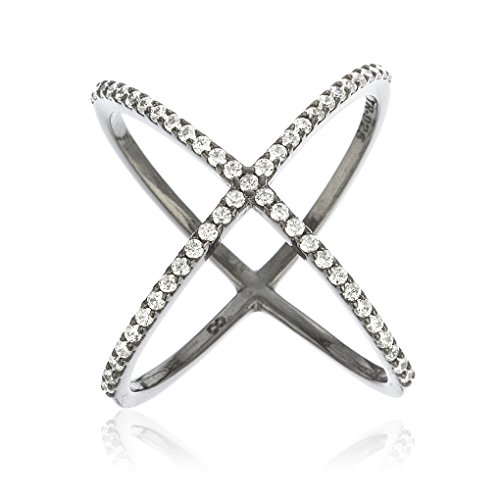 Ladies 925 Sterling Silver Black Plated Criss Cross 'X' Ring with Cubic Zirconia Stones (6)