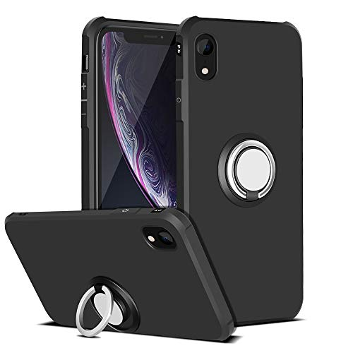 iMangoo Ring Holder Cover iPhone XR Case, Kickstand Phone Shell iPhone 10R Case 360° Rotating Stand Case Protective Flexible Bumper Ultra Slim Fit Armor Case for iPhone X R (10R) 6.1 2018 Black