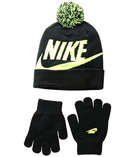 NIKE Boys' Beanie & Gloves Set (Youth One Size) - Black/Volt, 8-20