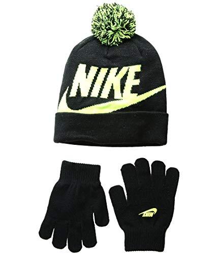 NIKE Boys' Beanie & Gloves Set (Youth One Size) - Black/Volt, ()