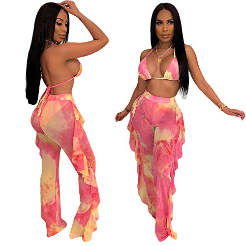 ECHOINE Women's Sexy Beach Swimsuit Mesh Cover Up See Through Two Piece Outfits Clubwear with Briefs Pink