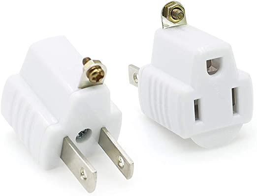 2 Pack 3-Prong To 2-Prong Plug AC Polarized Power Outlet Wall Adapter 3 To 2 UL