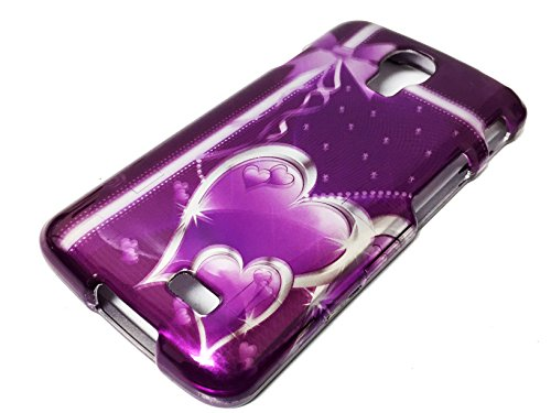 For LG Access LTE L31G L31C L31L F70 Phone Cover Hard Faceplate Case Accessories + Happy Face Phone Dust Plug (Purple Ribbon Heart) (Ribbon F70)